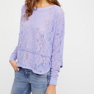 Free People Purple Lace Sweatshirt Top
